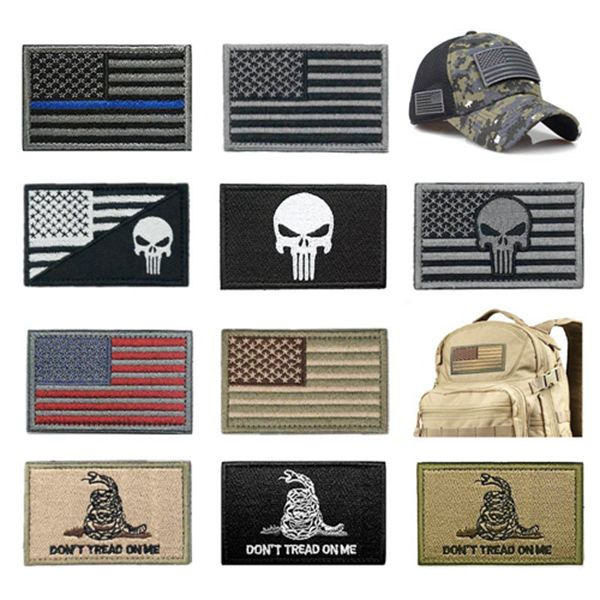 Racdde Bundle 10 Pieces US Flag Patch American Flag Punisher Patches Tactical Military Morale Patch Set