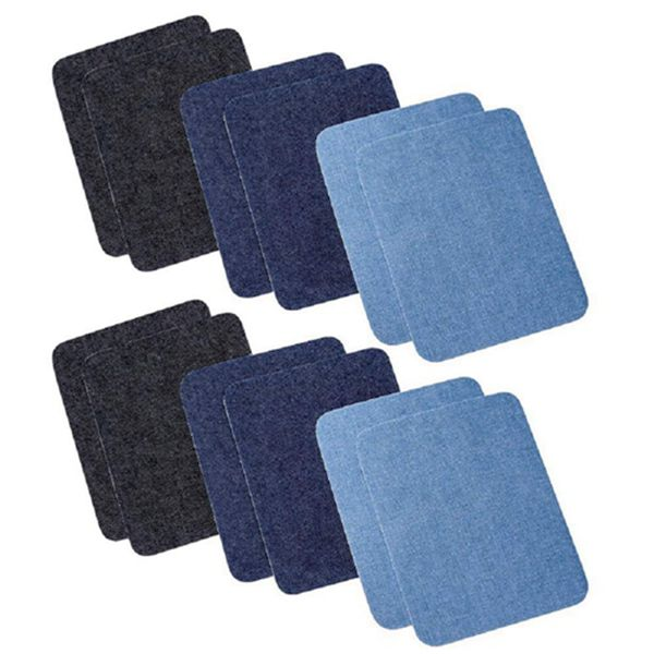 Racdde 12 PCS DIY Iron On Sew On Denim Patches for Jeans Clothing, 3 Colors(5 x 3.8 Inch)