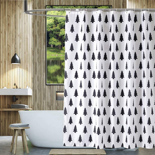 Racdde Fabric Shower Curtain Cloth Black and White Simple Cedar Tree Waterproof Shower Curtain Set 72 x 72inches with Hooks (Forest)