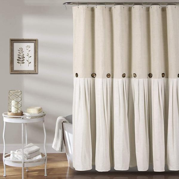"""Racdde Button Shower Curtain, 72"""" X 72"""", Linen"""