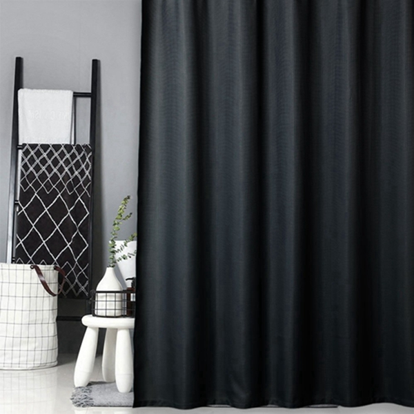 Racdde Black Fabric Shower Curtain, Hotel Quality Water Repellent Waffle Weave Textured Fabric Shower Curtains for Bathroom, 72 x 72 inches