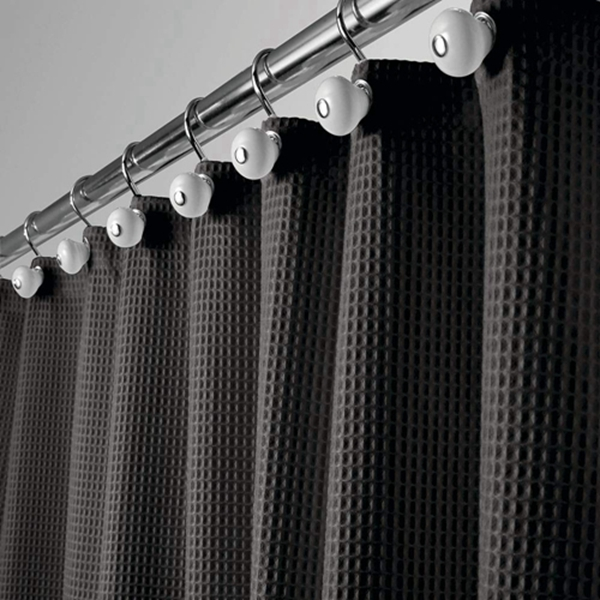"""Racdde Extra Long Hotel Quality Polyester/Cotton Blend Fabric Shower Curtain, Rustproof Metal Grommets - Waffle Weave for Bathroom Showers and Bathtubs - 72"""" x 96"""" - Black"""