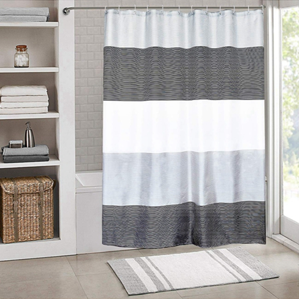 """Racdde Shower Curtain Set Waterproof,Stripes Polyester Fabric for Bathroom Showers and Bathtubs,Grey & Black & White,72"""" W×72"""" L Size"""