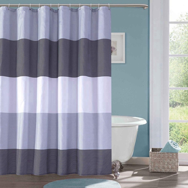 Racdde Shower Curtain Black and Grey Polyester Fabric Bathroom Curtain Waterproof Thick Shower Curtains,72 X 72 INCH (Black & Grey)