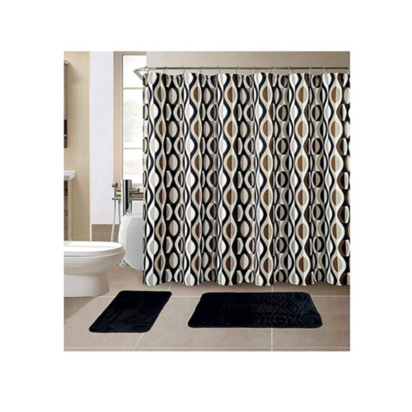 Racdde 15-Piece Bathroom Set With 2 Memory Foam Bath Mats and Matching Shower Curtain | Designer Patterns and Colors (Helix Black)