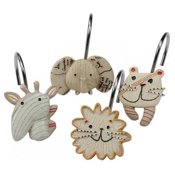 Racdde Animal Crackers Shower Curtain Hooks, Hooks for Bathroom Curtains,Decorative Bath Curtain Hooks,Set of 12