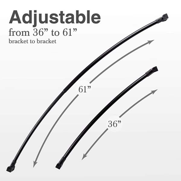 Racdde Adjustable Curved Shower Curtain Rod, Rustproof Aluminum, Adds Space and Adjusts from 36 in to 61 in, Telescoping Design, Elegant Finish (Black)