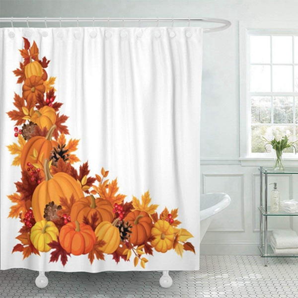 """Racdde Fabric Shower Curtain Curtains with Hooks Brown Thanksgiving Corner with Pumpkins and Autumn Leaves Colorful Border Fall Leaf Gourd November Season 60""""X72"""" Waterproof Decorative Bathroom"""