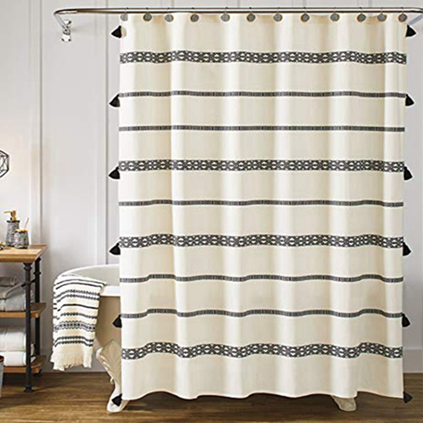 Racdde Tassel Fabric Shower Curtain, Black and Beige Stripe Print Boho Polyester Bath Curtain Set with Hooks, Decorative Spa Hotel Heavy Weighted 72-Inch Bathroom Curtains, (72 x 72, 80's Boho)