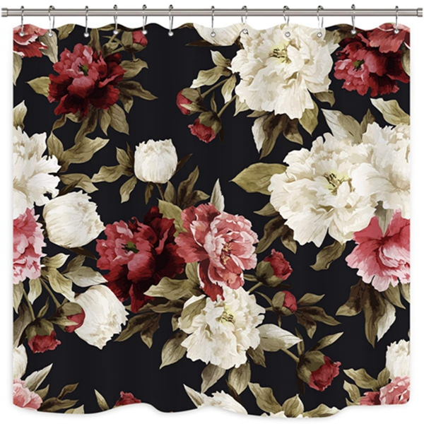Racdde Watercolor Floral Shower Curtain Rustic Flowers Rose Girl Retro Leaves Blossom Peony Woman Waterproof Fabric Bathroom Home Decor Set 12 Pack Plastic Hooks 72x72 Inch