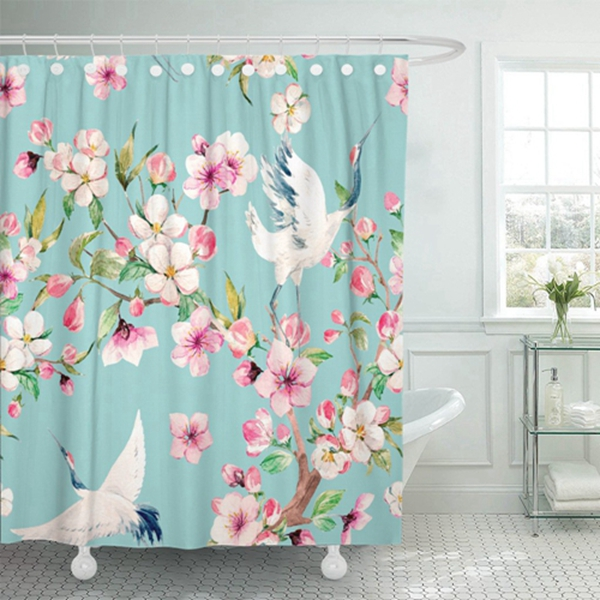 Racdde Shower Curtain Watercolor Pattern Red Heads Crane Blooming Branch of Cherry Waterproof Polyester Fabric 60 x 72 inches Set with Hooks