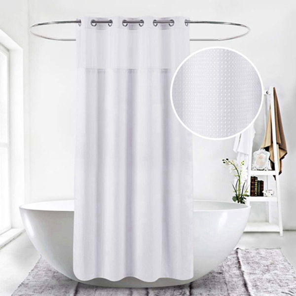 Racdde Extra Long 71x79 Hookless White Waffle Fabric Shower Curtain for Bathroom with Removable Polyester Liner–100% Waterproof