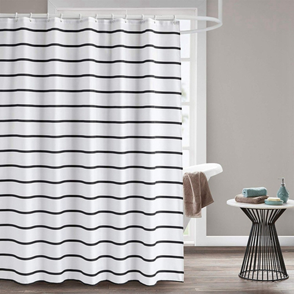 Racdde Fabric Shower Curtain, 60 x 72 Black and White Striped Geometric Cloth Shower Curtains for Bathroom Monogrammed Simply Design, Heavy Weighted and Waterproof