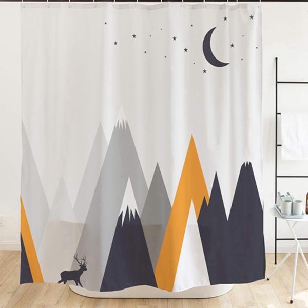 "Racdde Elk Kids Shower Curtain with Hooks Deer Roaming Below Mountain, Waterproof Fabric for Bathroom Accessories, No Liner Needed, Moon Stars Gray Orange 72""x 72"""