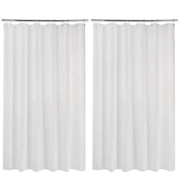 """Racdde 2 Pack Shower Curtain Liners, 70"""" W x 72"""" H PEVA 3G Shower Curtains with Heavy Duty Stones and 12 Rust-Resistant Grommet Holes, Waterproof Thin Plastic Liners Without Funky Smell- White"""