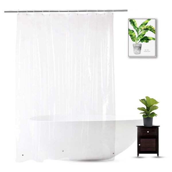 Racdde Clear Shower Curtain Liner 72 x 75 inch, PEVA Heavy Duty Shower Liner with 3 Weighted Magnets, Transparent, 100% Waterproof