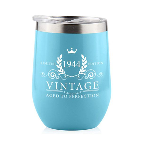 Racdde 1944 75th Birthday Gifts for Women Men - Splash Proof 12 oz Stainless Steel Wine Tumbler | Funny Gift Ideas for Her Wife Mom Grandma Him Dad | Insulated Wine Glass for Party Decorations (Blue, 1944)
