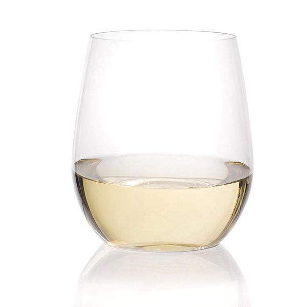 Racdde 24 Plastic Wine Glasses | Stemless Wine Cups - 20 ounce Clear Plastic Unbreakable Wine Glasses Disposable Reusable Shatterproof