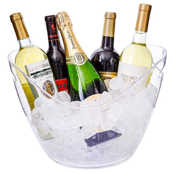 Racdde Ice Bucket Clear Acrylic 8 Liter Plastic Tub For Drinks and Parties, Food Grade, Holds 5 Full-Sized Bottles and Ice