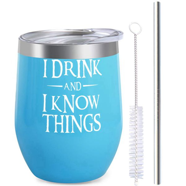 Racdde I Drink and I Know Things Wine Tumbler, Game Of Thrones Inspired Merchandise Gift, Funny Novelty Gift Wine Tumbler with Lid and Straw Stainless Steel 12 oz Stemless Double Wall Vacuum Insulated