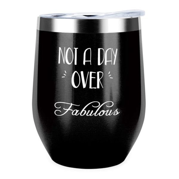 Racdde Not a Day Over Fabulous | Funny Birthday Gifts for Women,12 oz Stemless Wine Tumbler Insulated Stainless Steel Tumbler with Lid for Wife, Mom, Daughter, Aunt, Friends,Coworkers,BFF