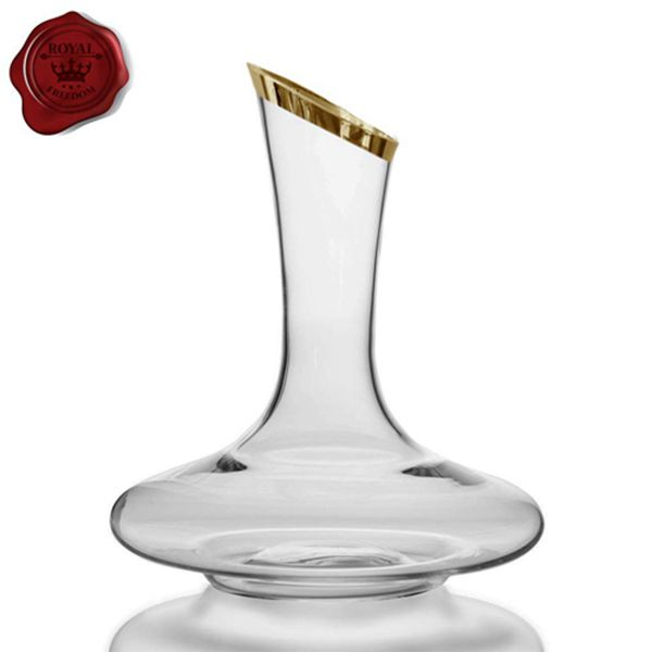 Racdde Wine Decanter- 100% Crystal Glass, Thick Hand Blown & Lead Free, Gold Tip, Red Wine Carafe, Wine Accessories, Wine Gift, Wide Base, 1800 ml.