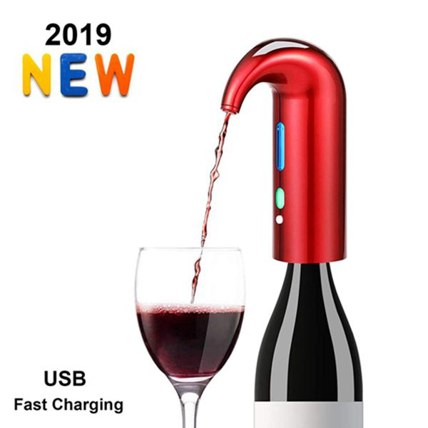 Racdde Electric Wine Aerator - Best Sellers One Touch Portable Red - White Wine Accessories Aeration For Wine and Spirit Beginner and Enthusiast -Spout Pourer - wine preserver (Lucky Red)