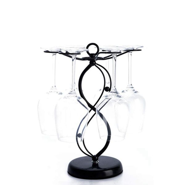 Racdde Countertop Wine Glass Holder - Freestanding Tabletop Stemware Storage Rack Metal Glasses Display Rack Black with 6 Hooks