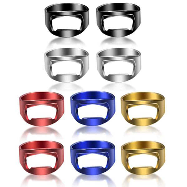 Racdde 10 Pieces Ring Bottle Opener Stainless Steel Beer Bottle Opener Colorful Finger Bottle Opener for Party Family Gift Supplies