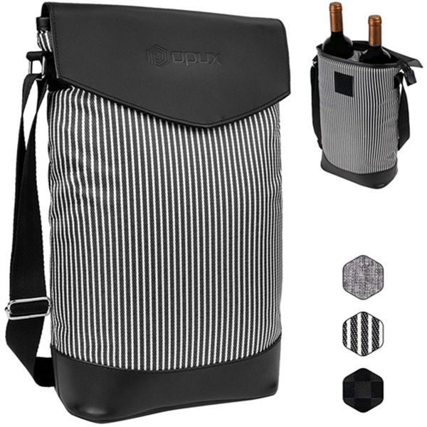 Racdde Insulated 2 Bottle Wine Carrier | Wine Tote Bag Cooler with Shoulder Strap and Leather Design | Padded Wine Bottle Carrying Bag for Travel Picnic -Black White Stripes