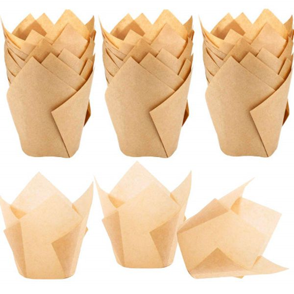 Racdde 150pcs Tulip Cupcake Liners Natural Baking Cups Muffin Paper Liner Grease-Proof Wrappers for Wedding, Birthday Party, Standard Size, Natural Color