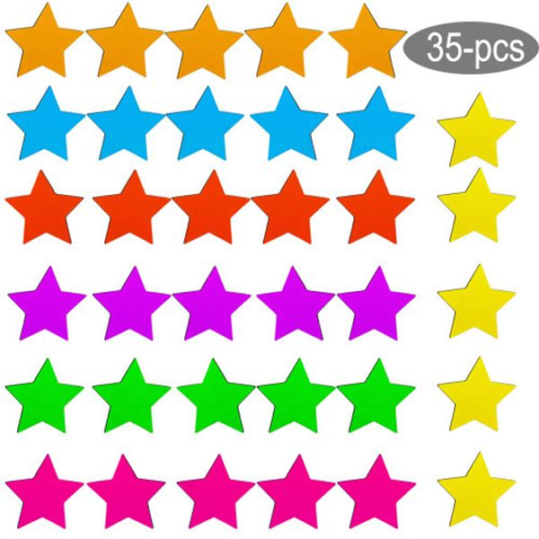 Racdde Refrigerator Magnets 35-Pack Star Fridge Magnets Cute Colorful Functional Magnets for Office, Kitchen, Refrigerator, Whiteboard magnet set