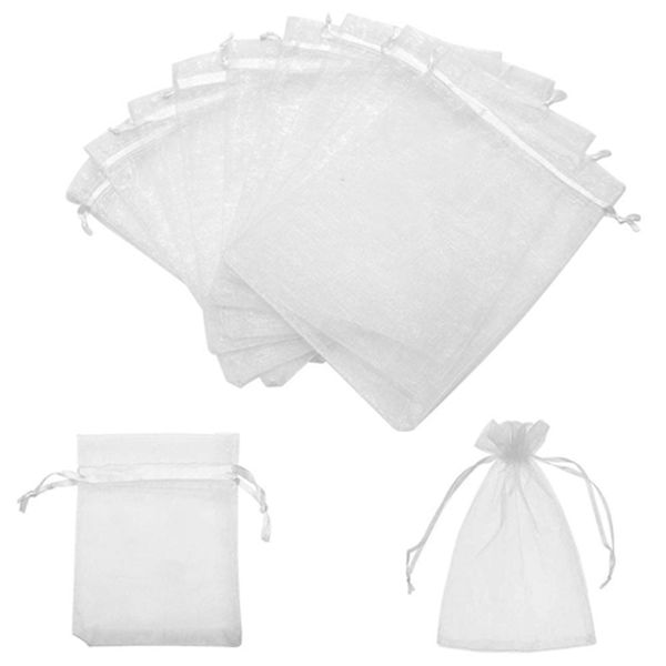 Racdde 5x7 Inches Organza Bags 100Pcs Drawstring Jewelry Gift Bags Mesh Pouches for Wedding Party Favors Christmas Gifts Candy Bags, White