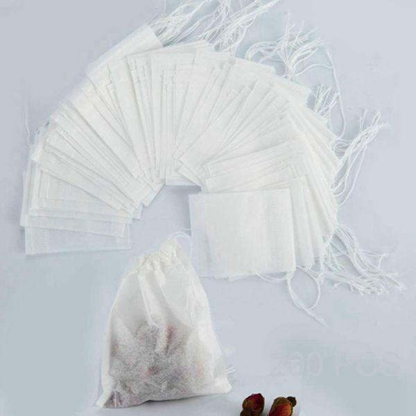 Racdde 200Pcs Disposable Tea Filter Bags 2.75 x 3.54 inch Tea Infuser Natural Material Drawstring Tea Bag Empty Bags for Loose Tea