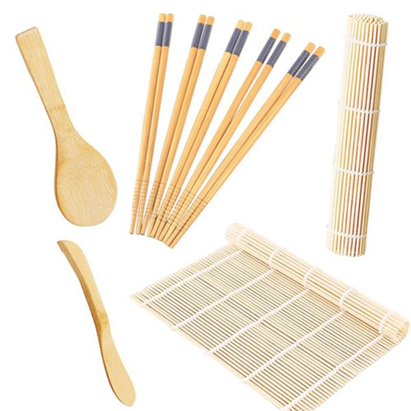 Racdde Sushi Making Kit Includes 2 Sushi Rolling Sushi Mats, Rice Paddle, Rice Spreader 5 Pairs Bamboo Chopsticks Sushi Set