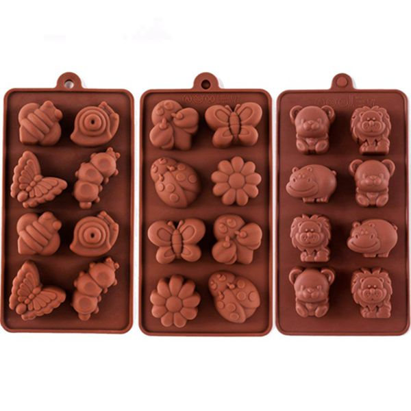 Racdde Silicone Molds Non-stick Chocolate Candy Mold,Soap Molds,Silicone Baking mold Making Kit, Set of 3 Forest Theme with Different Shapes Animals,Lovely & Fun for Kids