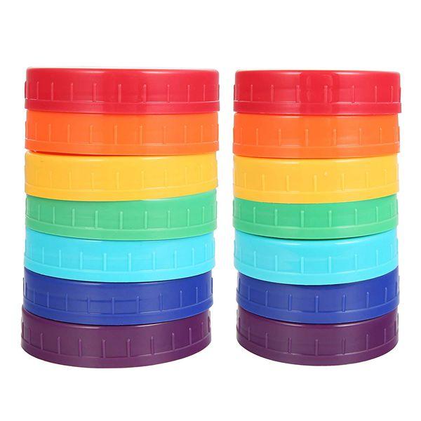 Racdde 14Pcs Colored Plastic Mason Jar Lids Canning Jar Lids 7 Regular Mouth Lids & 7 Wide Mouth Plastic Storage Caps for Mason Jars, 7 Colors