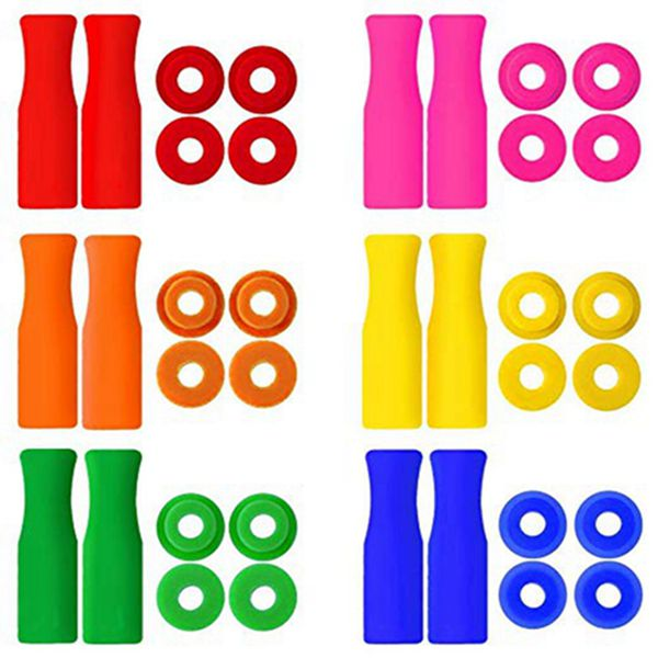 Racdde 12-Pack Silicone Tips Reusable Straw Tips Multicolored Stainless Steel Straws Cover with 24Pcs Anti-Slip Silencers for 1/4'' (6mm) Wide Stainless Steel Drinking Straws