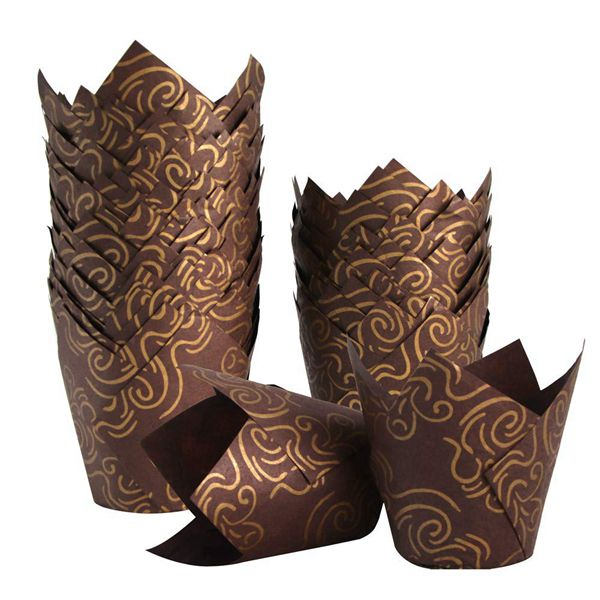 Racdde 150pcs Tulip Cupcake Liners Golden Printed Baking Cups Muffin Paper Liner Grease-Proof Wrappers for Wedding, Birthday Party, Baby Shower, Standard Size, Brown Color