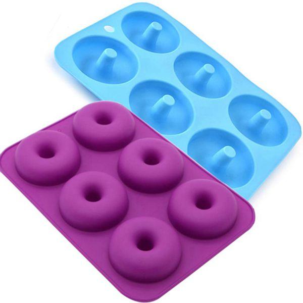 Racdde Donut Pan 2-Pack 6-Cavity No-stick Silicone Donut Baking Mold BPA-Free Doughnut Pan Donut Maker,Food Grade, Non-Toxic, Blue and Purple