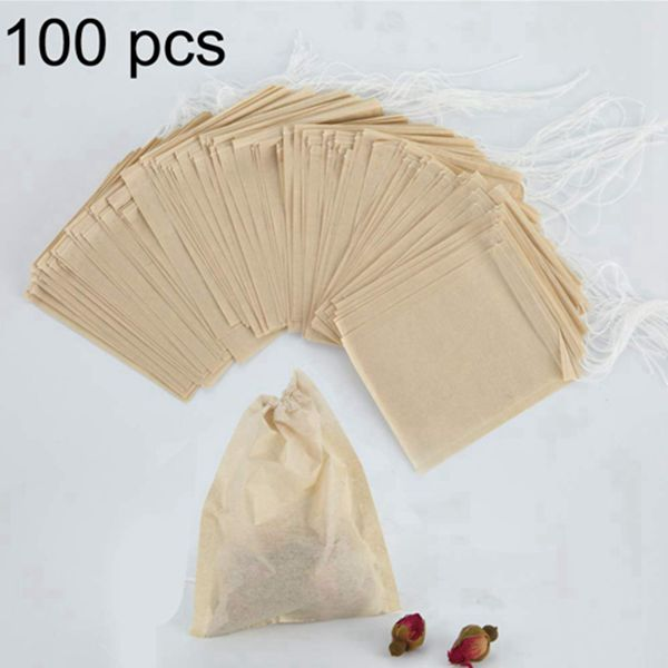 Racdde Tea Filter Bags Large 3.15 x 3.94 inch Pack of 100 Disposable Tea Infuser Natural Unbleached Material Drawstring Seal Tea Bag Empty for Loose Leaf Tea