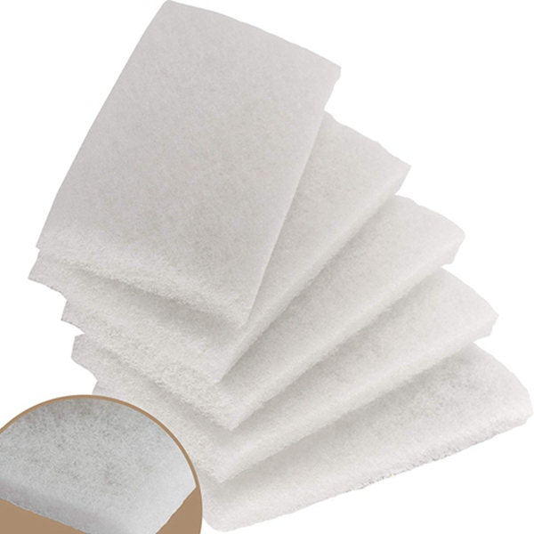 Racdde Commercial-Grade Non-Abrasive White Cleaning Pad 5 Pack By Mop Mob. Large, Multi-Purpose 10 in x 4 1/2 in Scouring Pad Fits Universal Holders. Great For Scrubbing Sinks, Tile, Windows and Fine China
