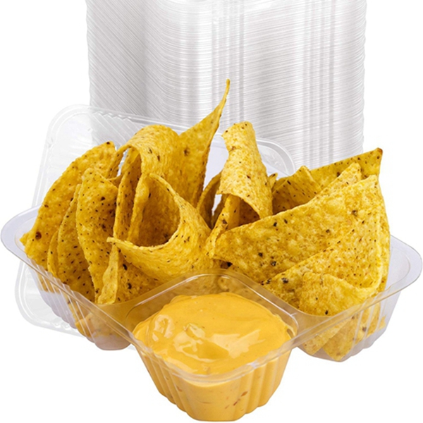Racdde Anti-Spill Plastic Nacho Tray 100 Pack . Disposable 2 Compartment Holder For Chips and Cheese Sauce Or Other Dips. For Carnivals, School Fairs, Church Festivals, Kids Parties and More