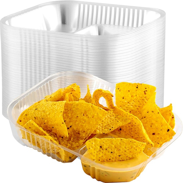Racdde Anti-Spill Plastic Nacho Trays 125 Pack. Disposable 2 Compartment Boats Great for Dips, Snacks and Fair Foods. Large 6x8 Inch Portable Chip Holders for School Carnivals, Parties and Concession Stands