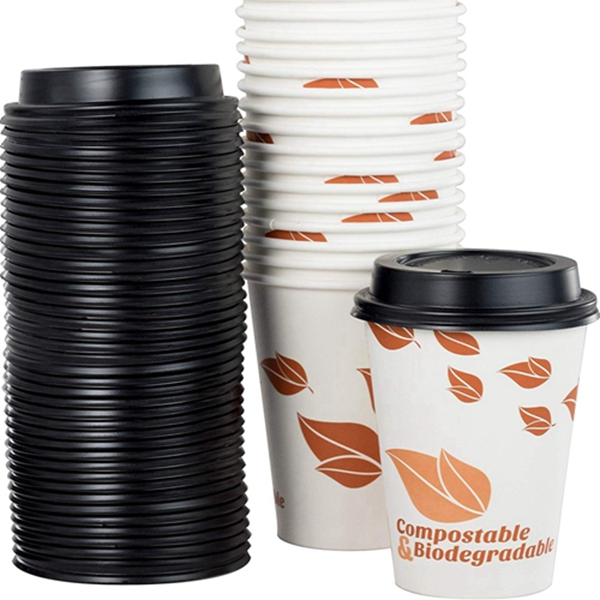 Biodegradable and Compostable 12 Oz Paper Coffee Cups And Recyclable Dome Lids. 100 Pack By Racdde. Medium Sized, PLA Lined Disposable Beverage Cups For Hot Drinks At Shops, Kiosks, Cafes and More