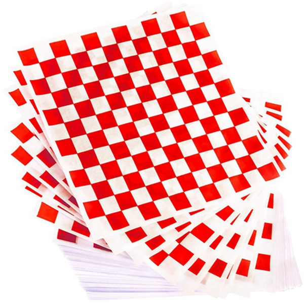 Racdde Extra Large, Grease Resistant Red Sandwich Liner 300 Sheet Pack. Microwave Safe 15x15 in Wax Paper Deli Wrap for Restaurants, Churches, BBQs, Concession Stands, School Carnivals, Fairs. Made in USA.