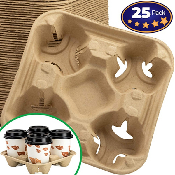 Premium Biodegradable 4 Cup Carrier 25 Pack by Racdde. Compostable, Pulp Fiber Tray for Hot and Cold Drinks. Eco-Friendly and Stackable to Keep Soda, Coffee and Other Beverages from Spilling