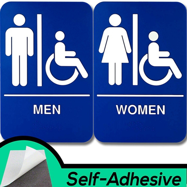 Racdde Mens and Womens Restroom Braille 9 in x 6 in Signs With Braille Lettering By Retail Genius. Durable Plastic Placards Display Bathroom Location and Gender. Self-Adhesive Backing For Easy Install
