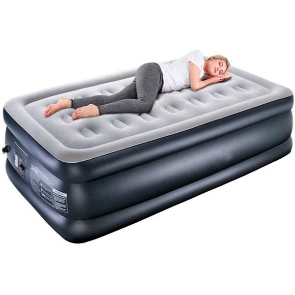 Racdde Twin XL Air Mattress with Built-in Pump, Premium Elevated Inflatable Air Bed for Guest and Camping - Blow Up Double High Air Mattress Quilt Top, 80 x 40 x 18 inches , 2-Year Guarantee