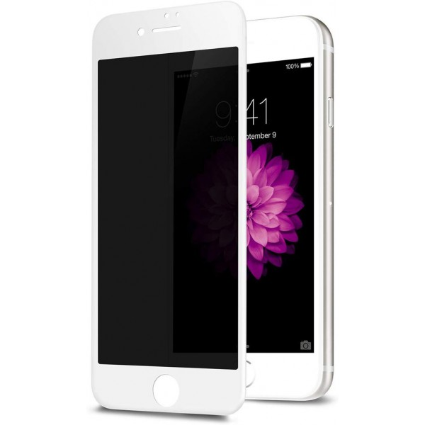 Racdde Privacy Screen Protector for iPhone 8 7 6s 6, Anti Spy 9H Tempered Glass, Edge to Edge Full Cover Screen Protector [Anti-Fingerprint] [Bubble Free] [Full Coverage] (White)